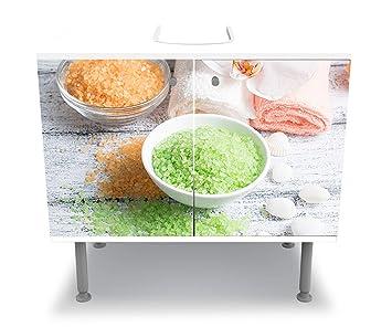 wandmotiv24 Badunterschrank Salón de SPA con Sal y Toallas Diseño baño Armario M0975 Pegar Delante gabinete