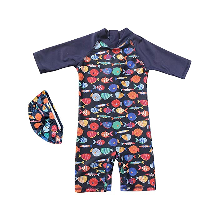 2b00ca4d3c Megartico Boys' Swimsuit One Piece Rash Guard Kids Long Sleeve Sunsuit  Swimwear Sets Toddler -