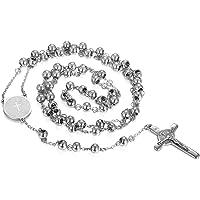 JewelryWe Joyería Acero Inoxidable Colgante Collar Dorado Pletado, Jesús Cristo Crucifijo Cruz Rosario Retro Vintage…