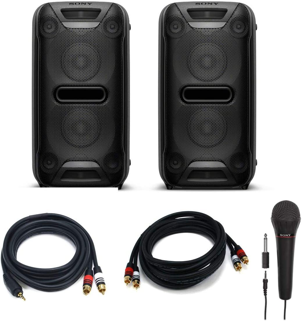 Sony GTK-XB72 Extra Bass High Power Home Audio System (Pair) Party Chain Bundle with 2 Sony Mics, Premium 3.5mm to 2RCA Cable, Premium 2 RCA Plug/2 RCA Plug M/M Cable