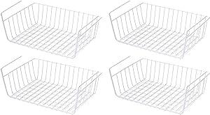 PENGKE Under Shelf Basket,4 Pack Wire Rack, Slides Under Shelves for Storage,Space Saving for Kitchen Counter Pantry Desk Bookshelf Cupboard, White