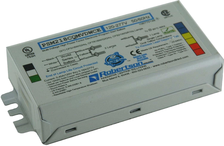 ROBERTSON 3P20161 Individual Fluorescent eBallast, 2 CFQ18W/G24q CFL Lamp, Program Start, 120-277Vac, 50-60Hz, Normal Ballast Factor, HPF, Model PSM218CQMVDWCEST (Replaces Model PSM218CQMVDWCE/S) Robertson Worldwide CECOMINOD017111