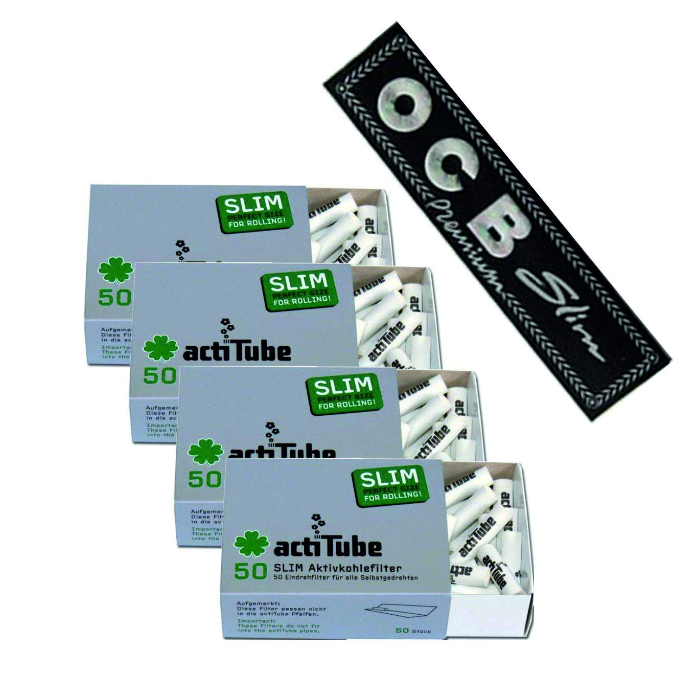 4 x actiTube Slim Aktivkohlefilter 7, 1m (4x50) Plus Gratis OCB Papers Slim 1x32 Blatt Aktivkohle Filter