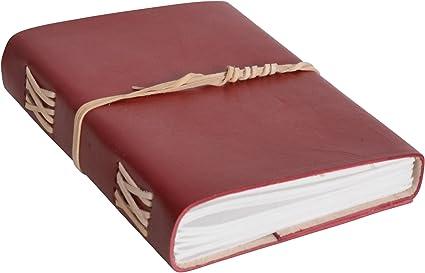 Libro di pelle Lucienne di Gusti Leder studio libro di pelle agenda diario DIN A5 per foto appunti Universit/à Ufficio rosso 2P31-24-5