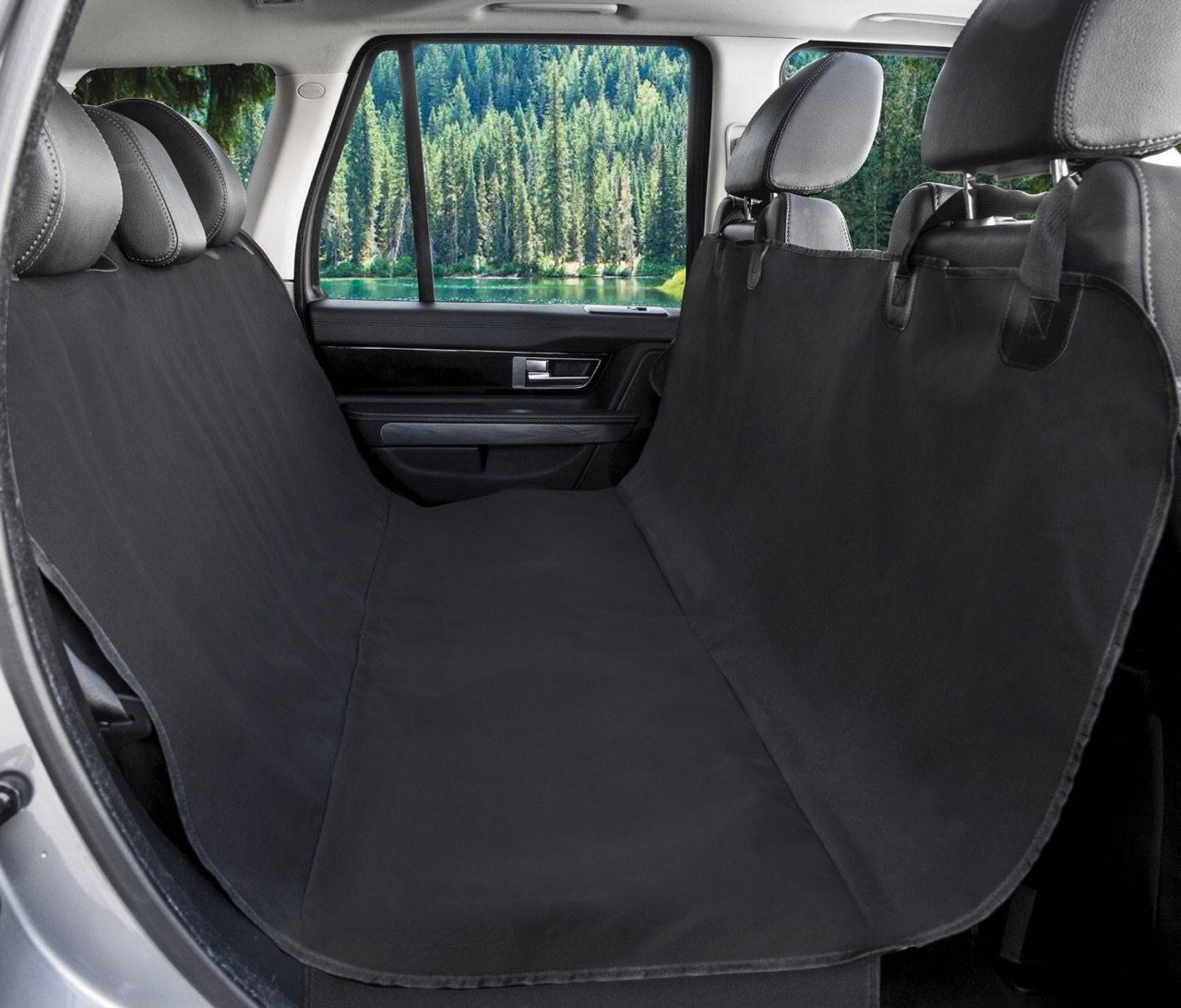 BarksBar Original Pet Seat Cover for Cars - Black, WaterProof & Hammock Convertible (Standard, Black) by BarksBar