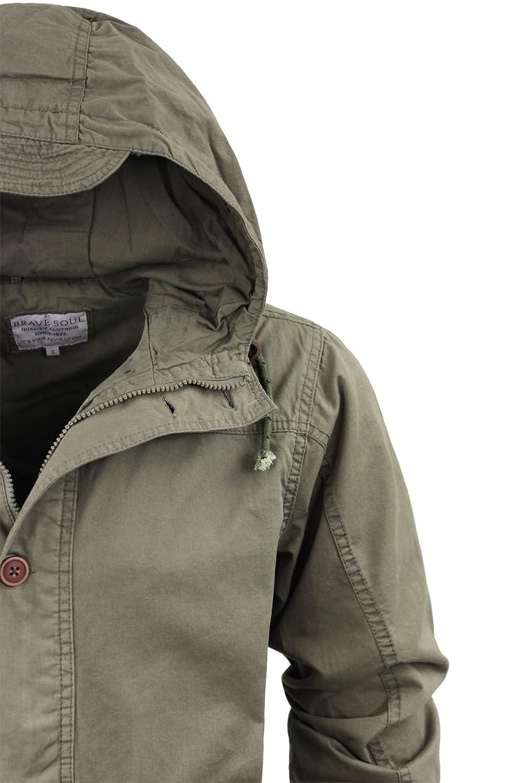 9a77314ef9 Brave Soul Mens Powell' Parka Coat   Khaki   S: Amazon.co.uk: Clothing