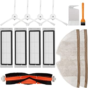 RONGJU Replacement Accessories Kit for Roborock S5 S6 E20 E25 E35 S50 Xiaomi Mi Mijia Robotic Vacuum Cleaner, 11 Pcs Parts(1 Main Brush, 4 Side Brush, 4 Hepa Filter & 2 Mop Cloth)