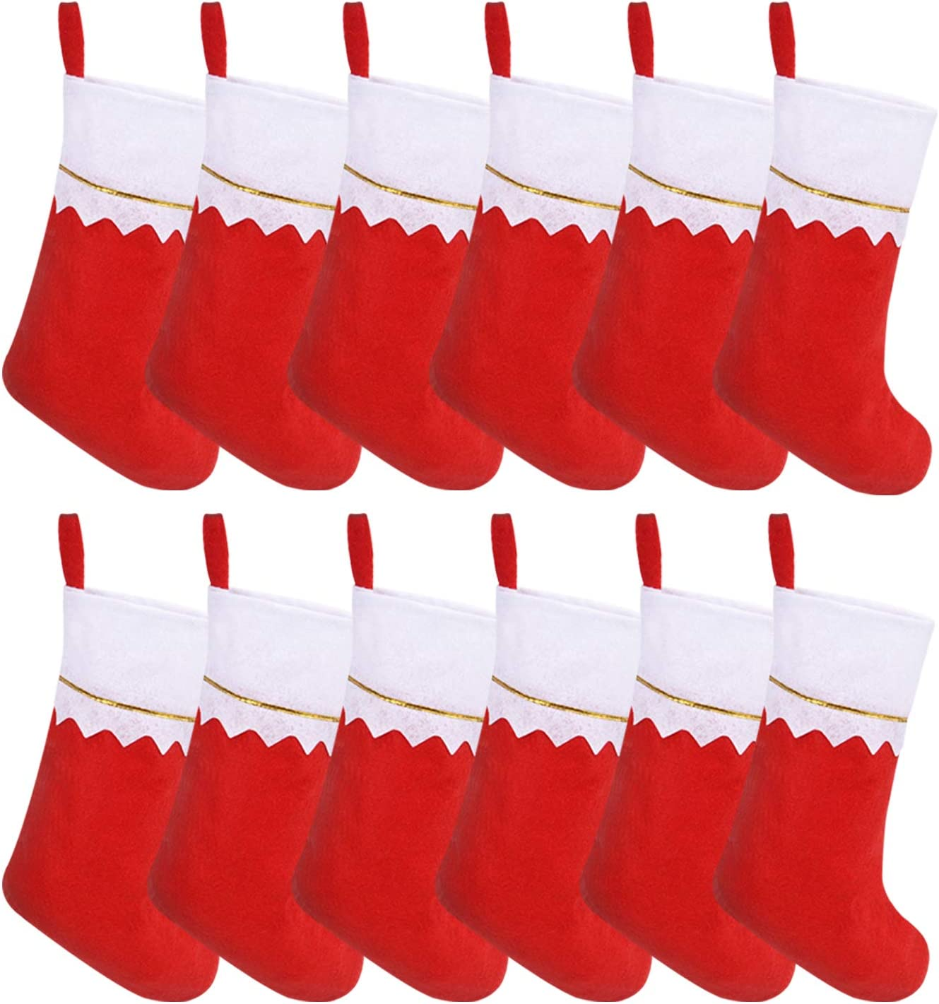 Livder 13 Inches Red Felt Christmas Stockings Fireplace Hanging Stocking Decoration Supplies, Pack of 12