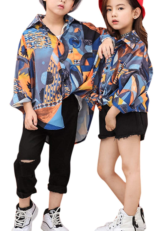 Boys Shirts Dance Hiphop Long Sleeve Girls Causal Shirts Summer