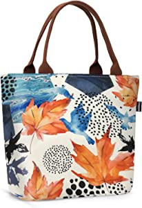 Gloppie Insulated Lunch Bags for Women Lunch Box Leak Proof Cooler Tote Purse Large Food Container Meal Prep for Work Beach Picnic 9L Maple Leaf