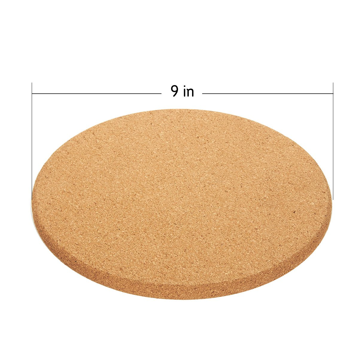 Juvale 4-Pack Cork Trivet Set and Kettles Round Corkboard Placemats Kitchen Hot Pads for Hot Pots Pans 9 x 9 x 0.5 Inches