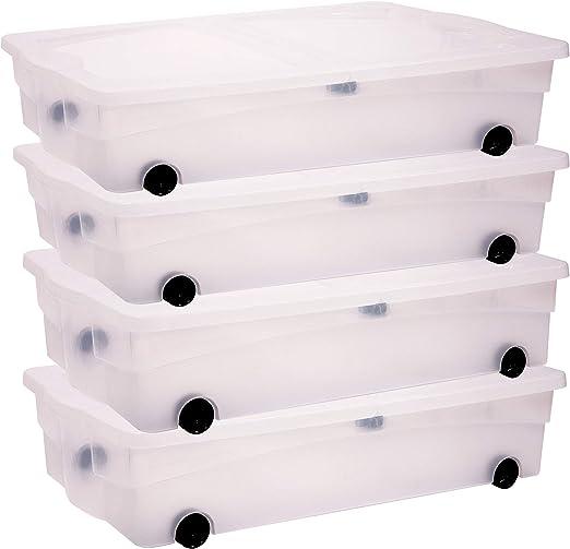 Keter - Juego de 4 Cajas de Almacenamiento con Ruedas, plástico ...