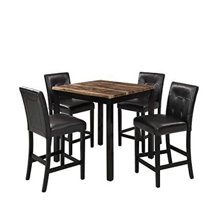 Lokesi Kitchen Table Set 5 Piece Marble Top Counter Height Dining Table Set With 4 Leather Upholstered Chairs Brown