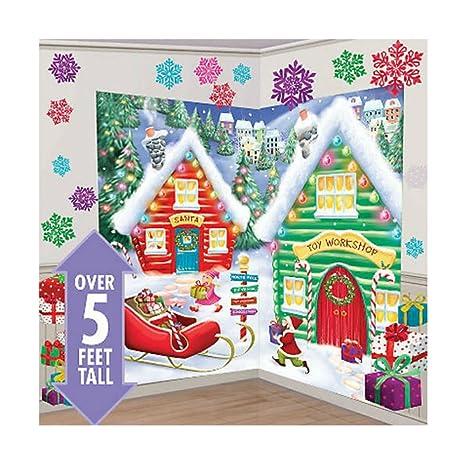 santas workshop scene setter christmas party wall decor 32pcs north pole elves top selling item - Elf Christmas Party Decorations