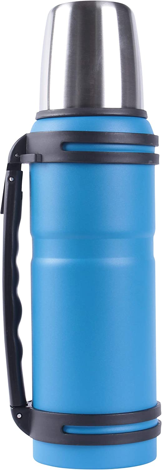 MAISON HUIS Double Wall Vacuum Insulated Tumbler Travel Mug with Lid Straw,Water Bottle Outdoor Reusable Camping Hiking Flask Thermos Strainer Filter Coffee Cup Travel Beverage Bottle Sea Blue
