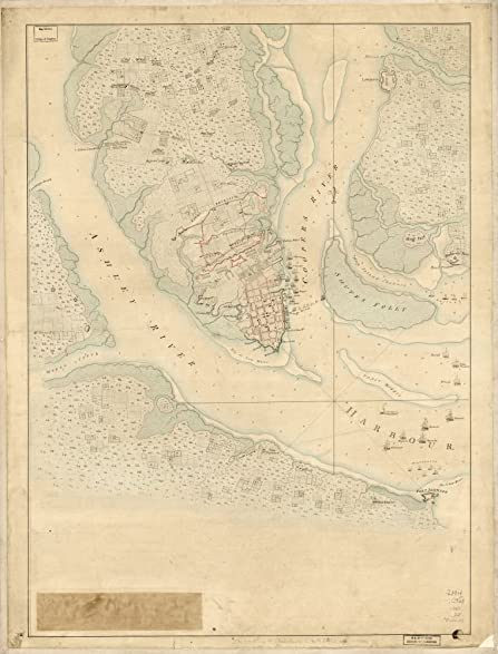 Amazoncom Vintage Map Of The Investiture Of Charleston - Charleston sc on us map
