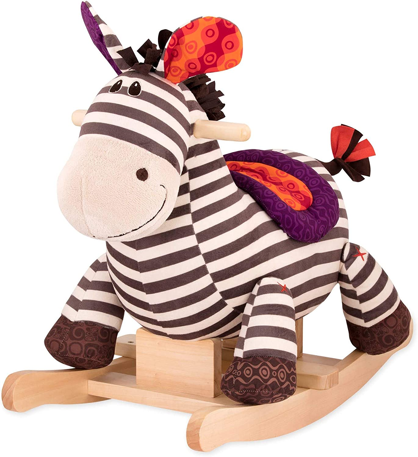 B. toys Kazoo Wooden Rocking Zebra Rodeo Rocker Plush Ride On Zebra Rocking Horse for Toddlers and Babies 18m