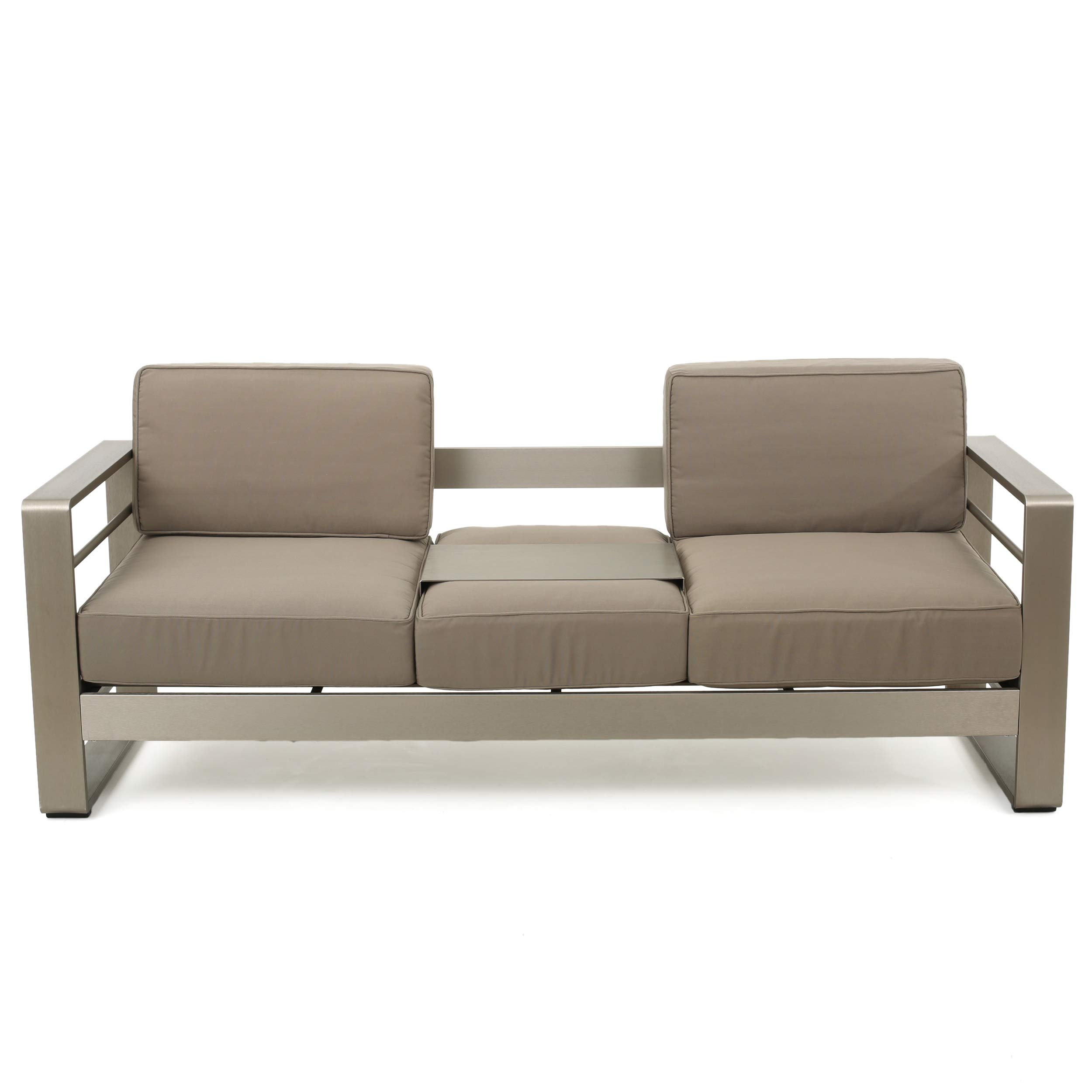 Christopher Knight Home 299431 Crested Bay Outdoor Aluminum Khaki Sofa with Tray by Christopher Knight Home