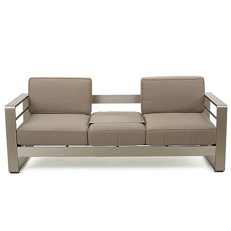 GDF Studio 299431 Crested Bay Outdoor Aluminum Khaki Sofa with Tray