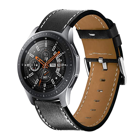 Kartice Compatible with Galaxy Watch (46mm) Bands Gear S3 Band 22mm Leather Strap Replacement Buckle Wrist Band for Samsung Galaxy Watch (Black)