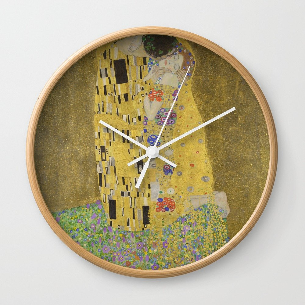 Amazon.com: Society6 The Kiss - Gustav Klimt Wall Clock Black Frame ...