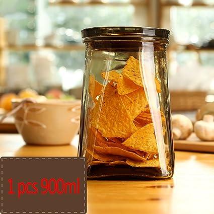 Xuan - worth having Vidrio sellado latas de almacenamiento tarro de cristal botella de leche en