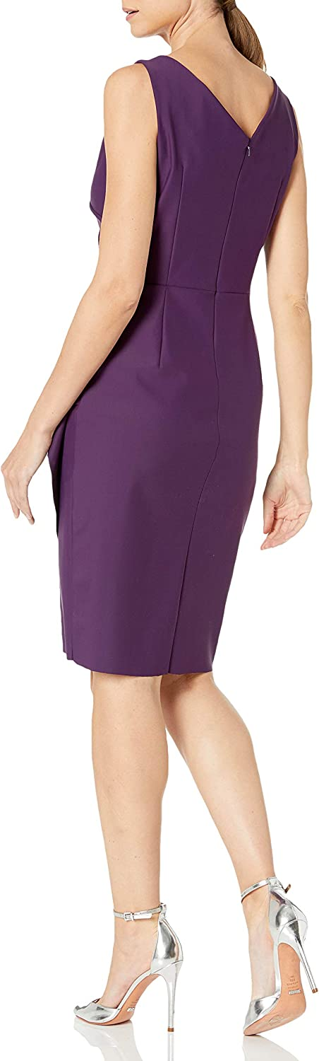 Alex Evenings Womens Slimming Short Ruched Dress with Ruffle Petite and Regular