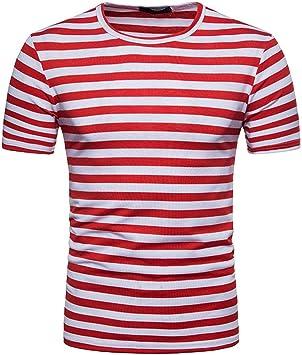 Camiseta de Hombre Camisa de Manga Corta para Hombres Camiseta de Rayas Casual de Verano para Hombres Tops de Blusa Jersey Pullover: Amazon.es: Deportes y aire libre