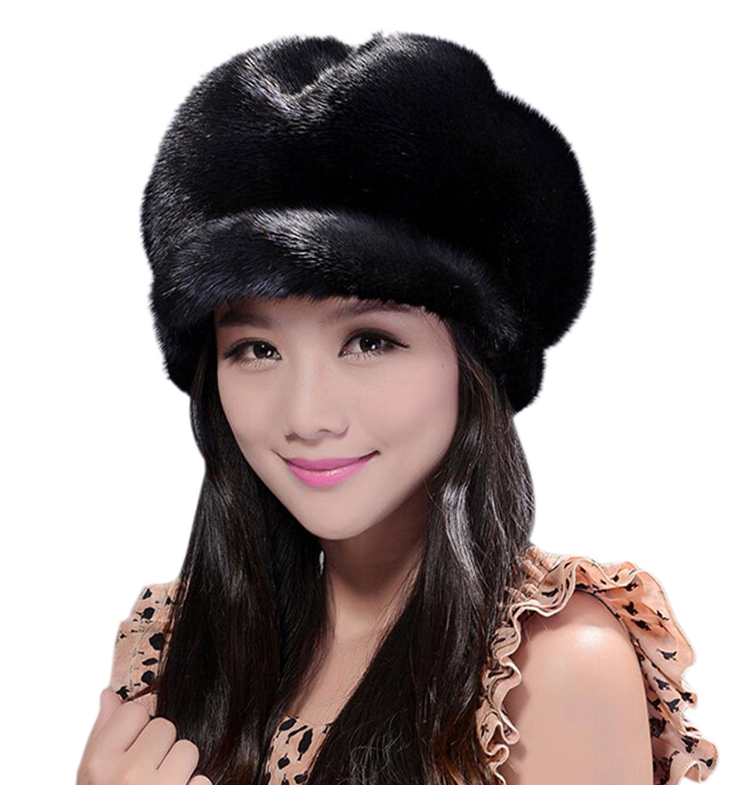 Easting New Fashion Women's 100% Real Genuine Mink Fur Cap (Black)