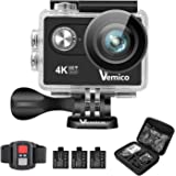 Action Camera, Vemico Sports Action Camera 4K Ultra HD 16MP Waterproof Helmet Cam Camcorder with 2.4G Remote Control 3 Batteries Wifi Phone Connection 170 Degree Wide Angle Full Mounting Accessories