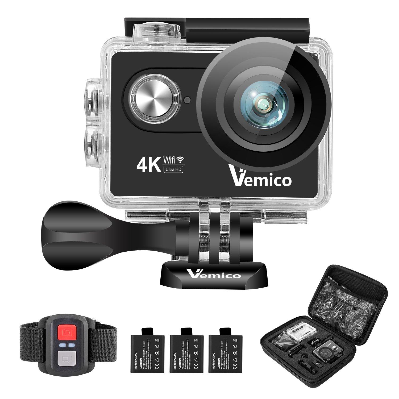 Vemico Acción Cámara Deportiva 4K Detección de Movimiento 1080P Video y 16MP Imagen Leva Control Remoto 2.0 Pulgada de la Pantalla con WiFi con Carcasa Impermeable de Redondez con Tres Baterías