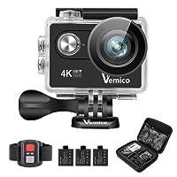 Vemico Camera Sport 4K Action Cam Caméra d'Action Ultra HD Casque Imperméable 16MP WiFi 40M Caméscope sous-Marin avec 2.4G Télécommande et 3 Batteries Rechargeables