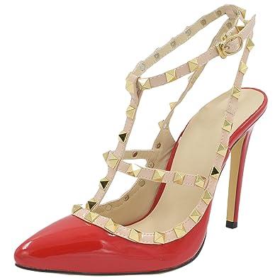 Oasap Damen T Spang Stiletto High Heels Sandalen Pumps Mit Nieten