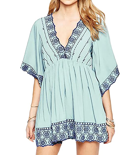 21229386e4 Bestyou Womens Embroideried Top Blouse Bathing Suit Cover up Tunic Dress  Swimwear (Light Blue)