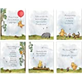 Winnie The Pooh Art Prints - Set of 6 (8 inches x 10 inches) Baby Shower Decorations, Nursery Wall Art Decor - Baby…