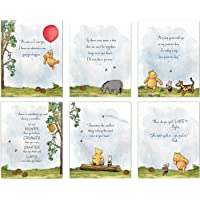 "Winnie The Pooh Baby Shower Decorations, Gift Prints - Set of 6 (5""x7"") Nursery Wall Art Decor - Baby Bedroom Decor…"
