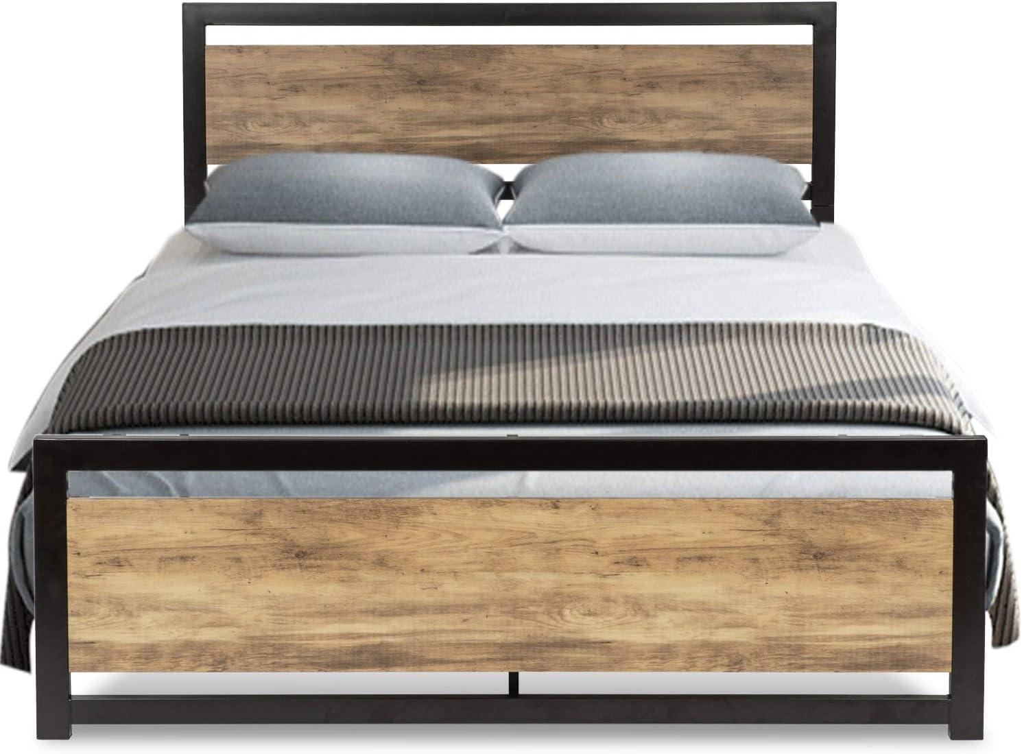 Amazon Com Urest Full Size Bed Frame With Headboard Platform