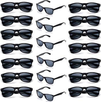 Onnea 20 Pieces Party Favours Sunglasses Pack for Adults Unisex 80S Retro Vintage Style Promotional Wholesale Black 20-Pack