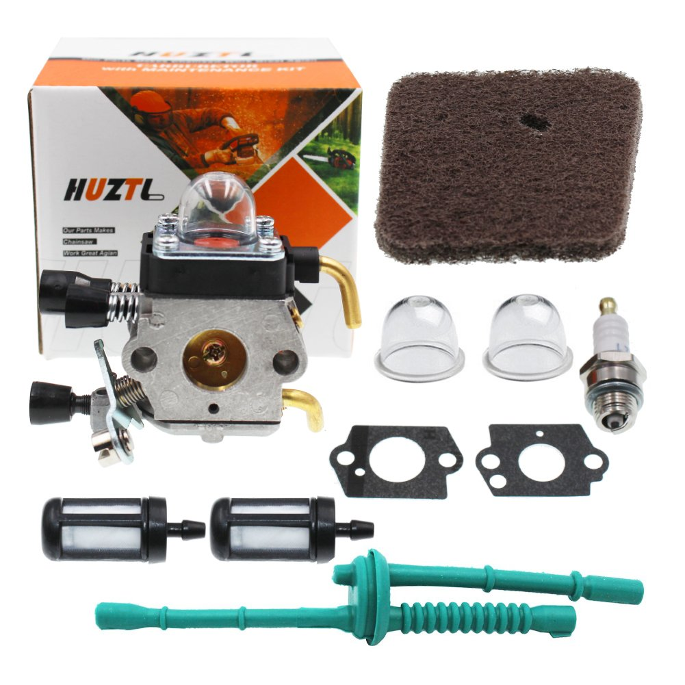 HUZTL C1Q-S97 Carburetor for STIHL FS38 FS45 FS46 FS55 KM55 HL45 FS45L FS45C FS46C FS55C FS55R FS55RC FS85 FS80R FS85R FS85T FS85RX String Trimmer Weed Eater with Air Filter Fuel Line Kit by HUZTL