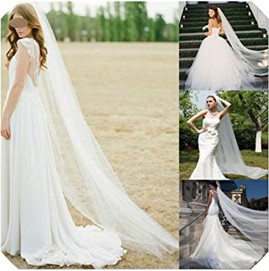 New 2T White//lvory Cathedral Bridal Applique Voile Edge wedding Veil With Comb