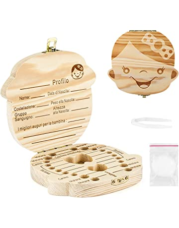 Inglese, Boys WeiMay Denti box per bambini,in legno,Baby Teeth Save box organizer dentino,Scatoletta di Memoria Scatolina Porta Dentini scatola in legno organizer per denti di bambini o bambine