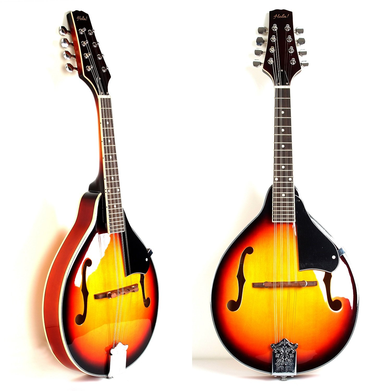 A Style Mandolin Instrument with Adjustable Truss-Rod by Hola! Music (Model HM-3TS) - Glossy Sunburst Finish HM-SB