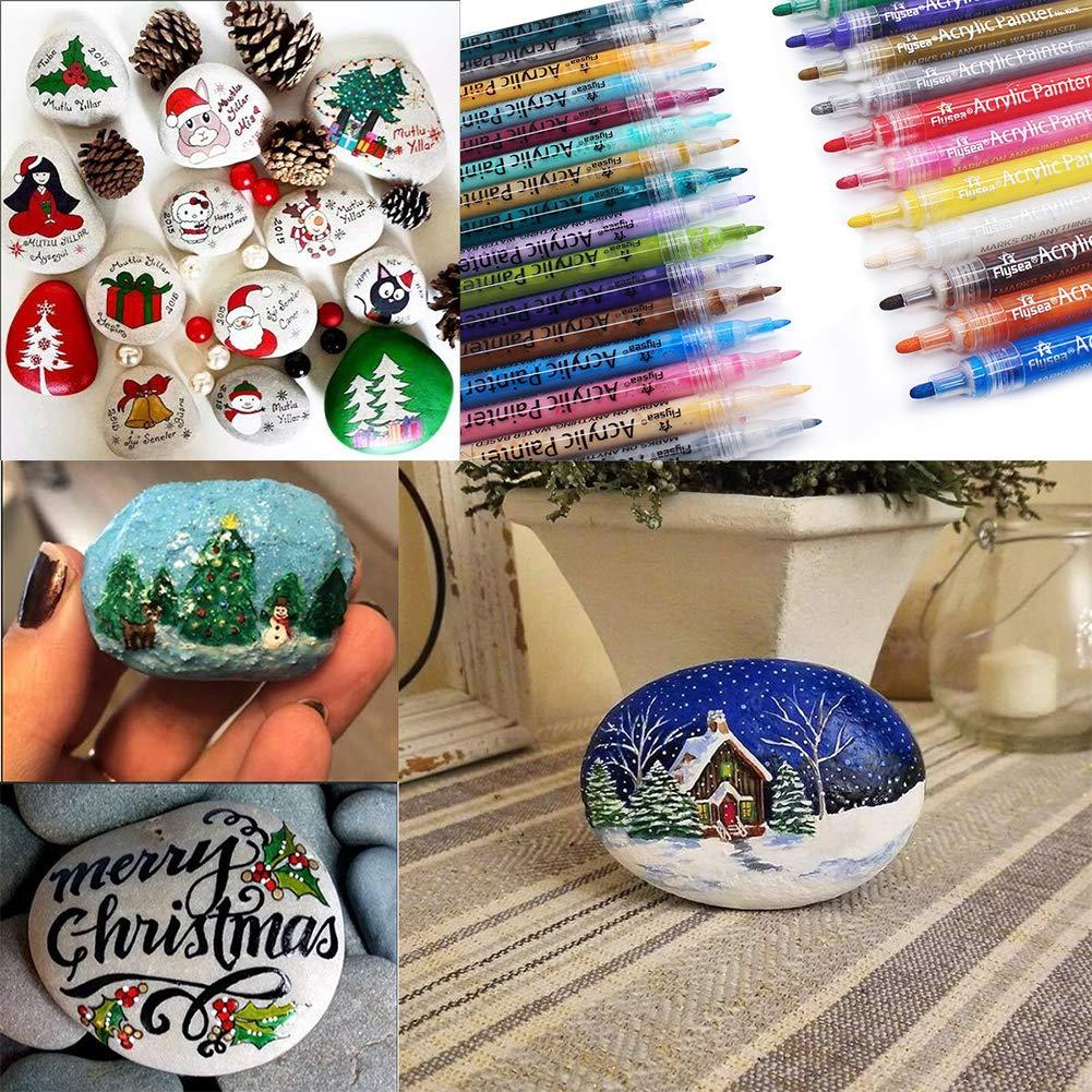 Ceramica Vetro Punta XIAPIA Pennarelli a Vernice Acrilica,28 Colori 0,7 mm 2-3mm Pennarelli Permanenti Pennarello Set Impermeabile Pittura Arte per Pittura su Roccia