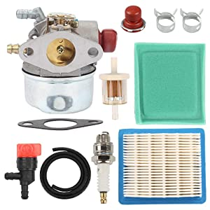 Venseri 640014 640025 640004 640117B Carburetor with Primer Bulb Air Filter Tune Up Kit for Tecumseh OHH45 OHH50 OHH55 OHH60 OHH65 Engine Lawn Mower 640014 640025