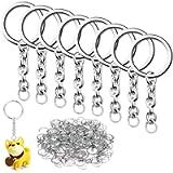 100 pcs Split Key Ring with Chain, QMAY 1'/25mm Split Key Chain Ring, Nickel Plated Split Key Ring for Home Keys…