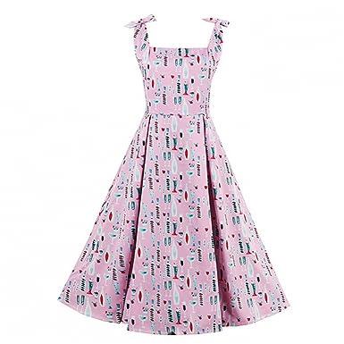 Summer Elegant Slash Neck Bowknot Women Tunic Dresses Spaghetti Strap Pinup  Pink Print Rockabilly Style at Amazon Women s Clothing store  630b2792f