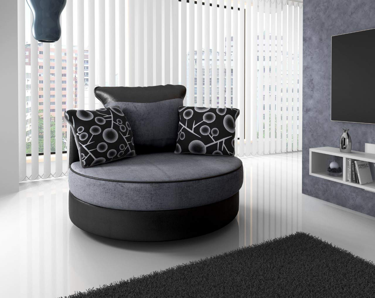 Corner 2 Seater Footstool Swivel chair Honeypot Furniture Fabric Sofa 3 Seater Armchair Black Shannon