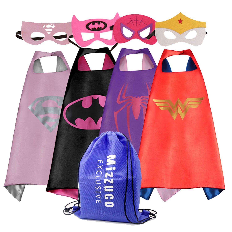 Mizzuco Cartoon Dress Up Costume Satin Cape with Felt Mask for Girls-4pcs MIZ-CUS-4PC-GL