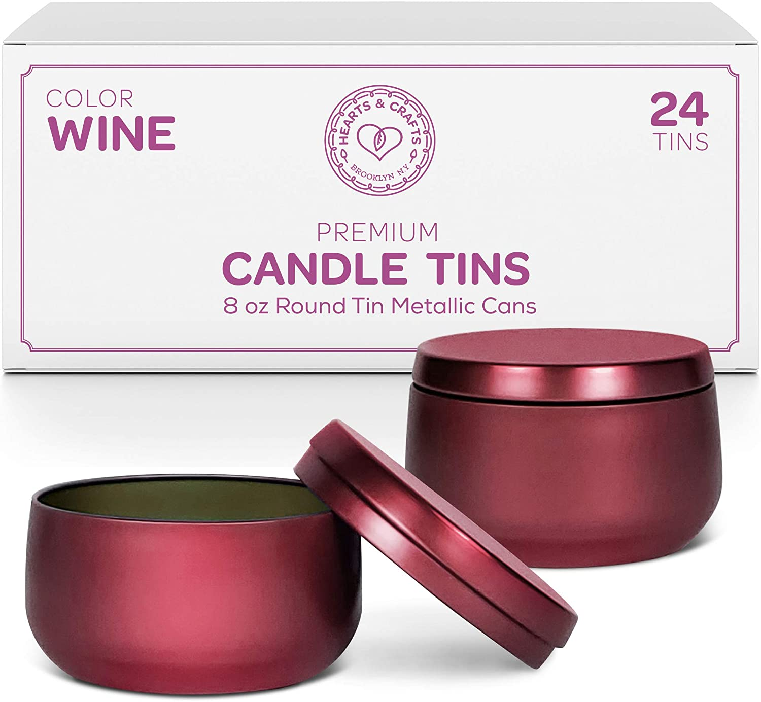 Hearts and Crafts Candle Tin Cans | 8-oz. Wine Tin Cans, 24-Pack | for Candles, Arts & Crafts, Storage, and More