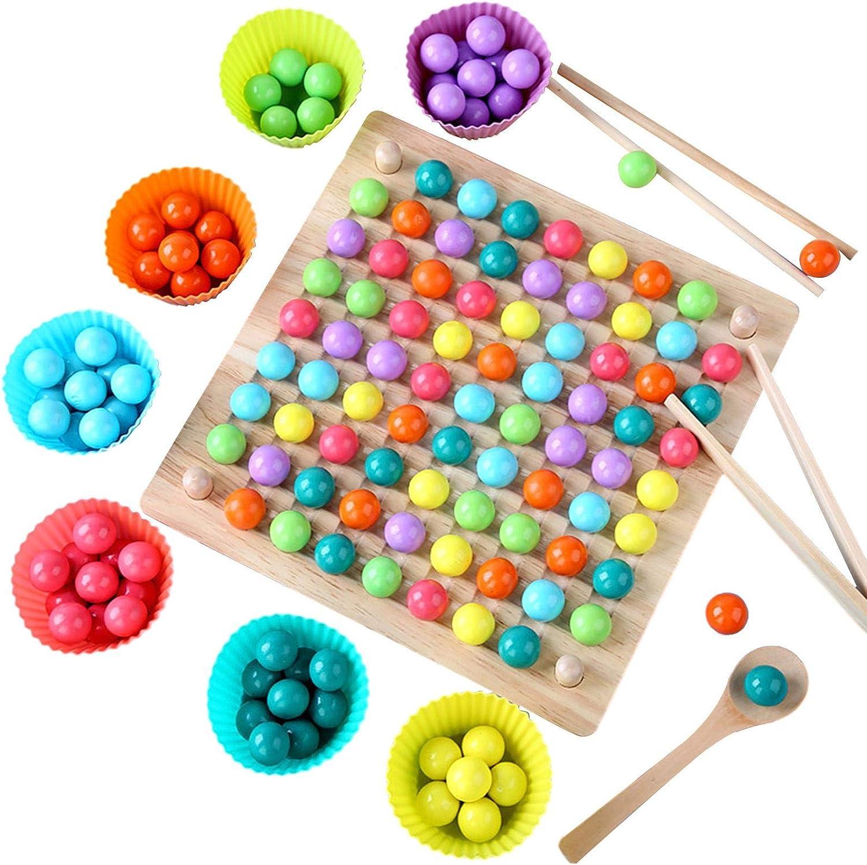 Earthily Holz Montessori Spielzeug Fr/ühe Lernspielzeug Geschenk f/ür Kinder Jungen M/ädchen Perlen Spiel Regenbogenball Brettspiel